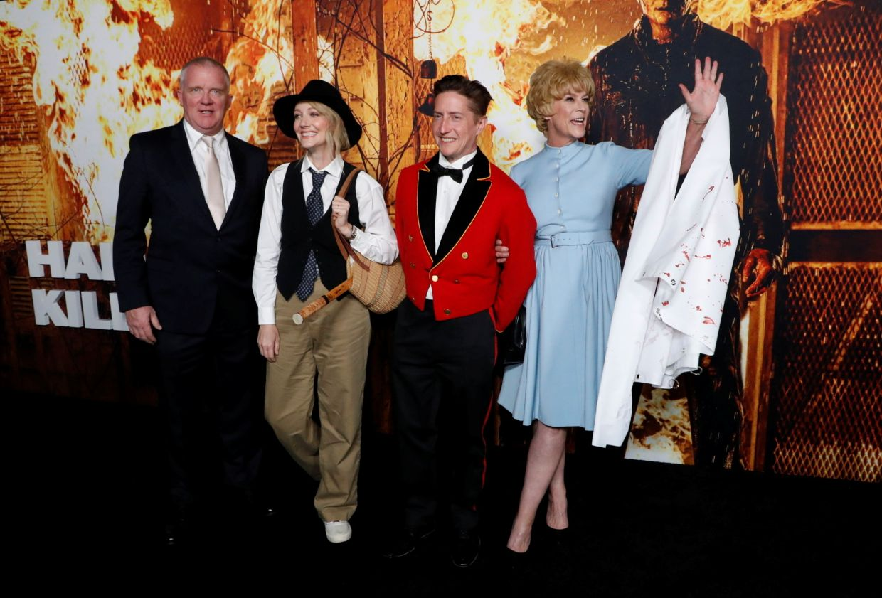 (From left) Cast members Anthony Michael Hall, Judy Greer, Jamie Lee Curtis and director David Gordon Green pose at premiere for the film 'Halloween Kills' at the TCL Chinese Theatre in Hollywood, in Los Angeles, California. Photo: Reuters