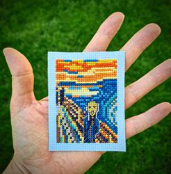 Turkish cross-stitcher sews mini gallery of famous masterpieces