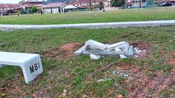 New park bench broken in days