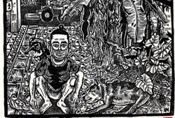 Malaysian artist's new woodcuts reflect calm found in a jungle garden