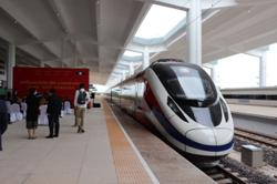 Gleaming new train arrives ahead of railway opening for usage at the Laos-China Railway