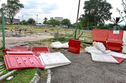 Safety barricades knocked over at Taman Maluri park